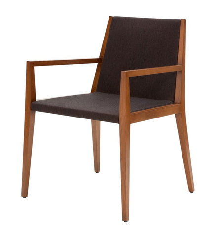 Spirit modern dining armchair in brown wool
