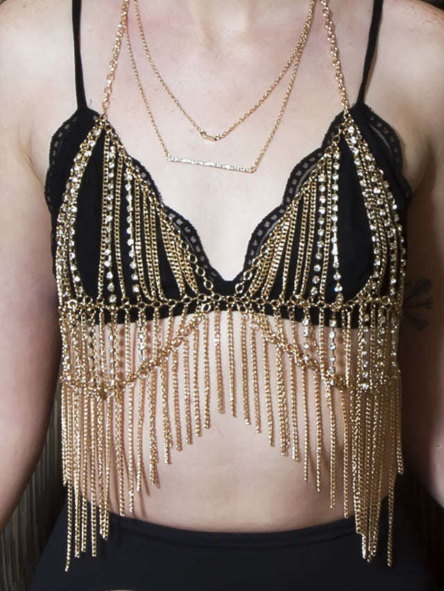 Beautiful gold chain and rhinestone diamond halter chain bra.