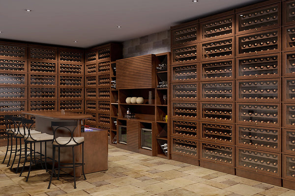Accessorize Hale Heritage Barrister Bookcases with wine racks and create stacks of storage in a wine cellar