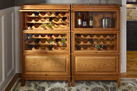 The Hale Heritage Barrister Bookcase with wine racks is ideal for book discussions over a bottle of wine.