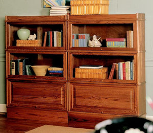 Hale Barrister Bookcase with receded wood and glass doors