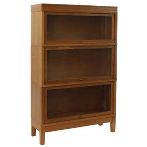 Hale Legacy Extra Deep Wood Barrister Bookcase 3 Tier with 3 receding glass door shelf sections