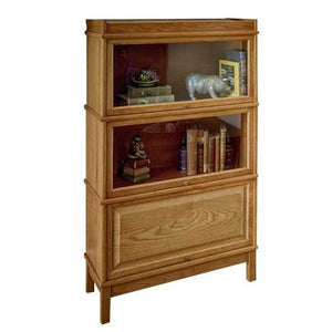 Hale Heritage Wood Barrister Bookcase in Mission Oak with 2 receding glass doors and 1 receding wood door