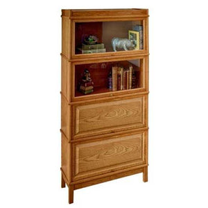 Hale Heritage Extra Deep Barrister Bookcase with 2 wood and 2 receding glass doors
