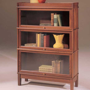 Hale Heritage Barrister Solid Wood Bookcase with 3 receding glass doors