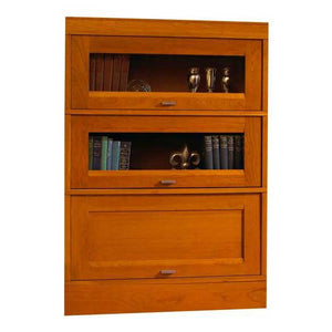 Hale Millennium Wood Barrister Bookcase with 2 receding glass door shelf sections and one wood receding door shelf section