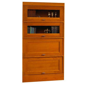 Hale Millennium Wood Barrister Bookcase with 2 receding glass door shelf sections and 2 wood receding door shelf sections