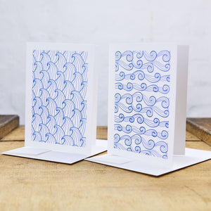 2Er Set Letterpress A6 Klappkarten New Wave Karte