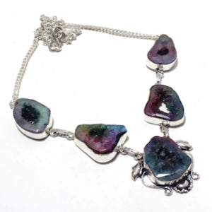 Dark Rainbow Solar Quartz Antique Silver Necklace | GULA MAGICK