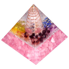 Load image into Gallery viewer, Rose Quartz Copper Tower Orgonite Pyramid, 2"
