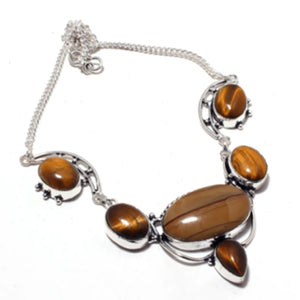 Tiger Eye Antique Silver Necklace | GULA MAGICK