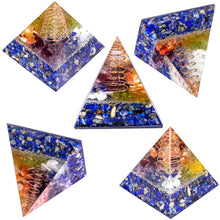 Load image into Gallery viewer, Lapis Lazuli Copper Tower Orgonite Pyramid, 2"