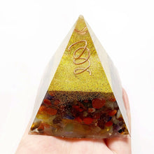 Load image into Gallery viewer, Chakra Orgonite Pyramid, Large | GULA MAGICK