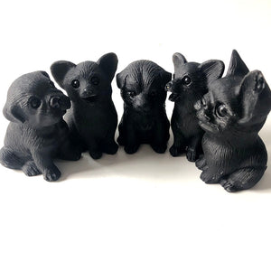 Black Obsidian Crystal Figurine, Pet Family GIft Pack | GULA MAGICK