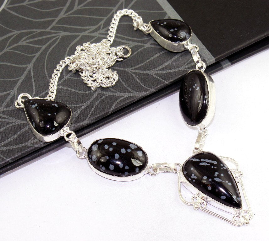 Snowflake Obsidian Antique Silver Necklace | GULA MAGICK