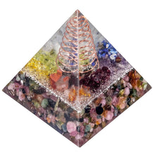 Load image into Gallery viewer, Tourmaline Copper Tower Orgonite Pyramid, 2"