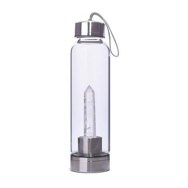 Clear Quartz Obelisk Wand Energy Drink Bottle | GULA MAGICK