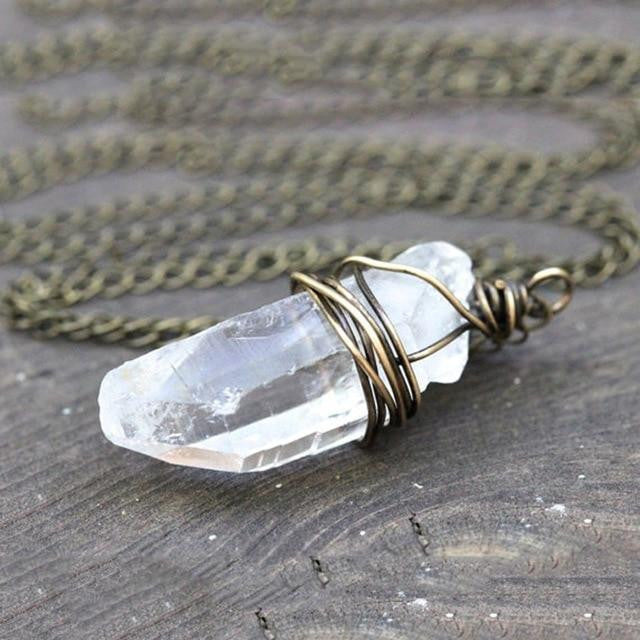 Clear Quartz Stone Necklace - GULA MAGICK