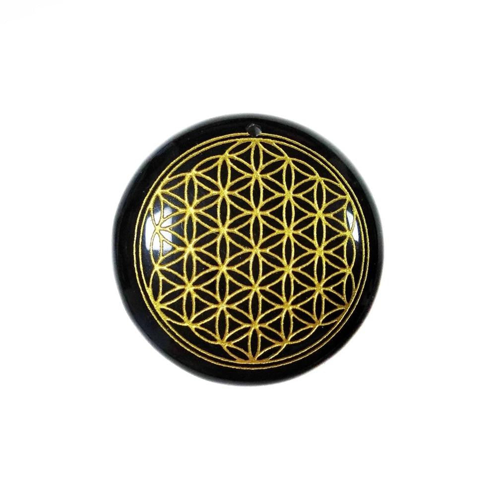 Black Obsidian Flower of Life Pendant | GULA MAGICK
