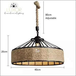Rope Wicker Chandelier - (B) 40cm - Chandeliers