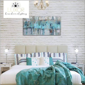 wall decor Aqua Wave Abstract Canvas - Luxor Home Decor & Lighting