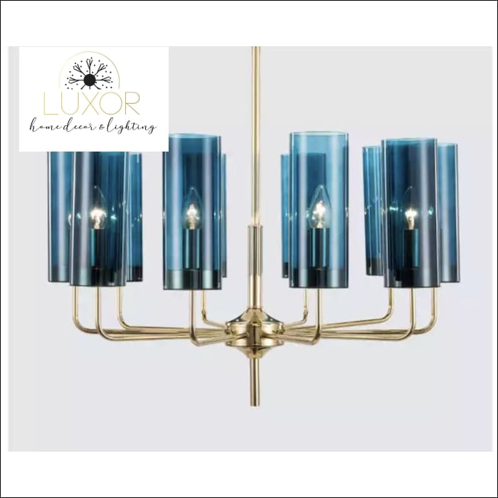 Aqualina Post Modern Chandelier - 10 Lights / Aqua Blue - Chandeliers