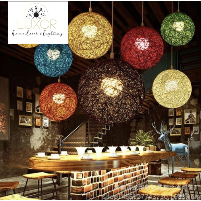 Pendant Lighting Rainbow Vintage Wicker Pendant Light - Luxor Home Decor & Lighting