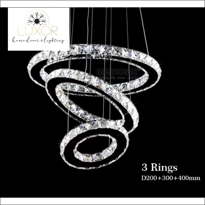 Oliviani Three Ring Crystal Chandelier - Chandeliers