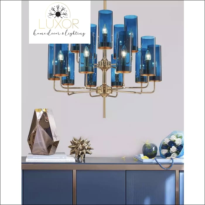 Aqualina Post Modern Chandelier - 15 Lights / Aqua Blue - Chandeliers