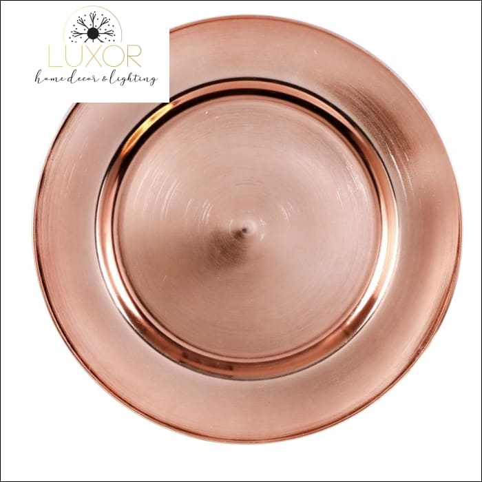 Home accents Rose Gold Plastic Charger Plates, 13 in. (Set of 4) - Luxor Home Decor & Lighting