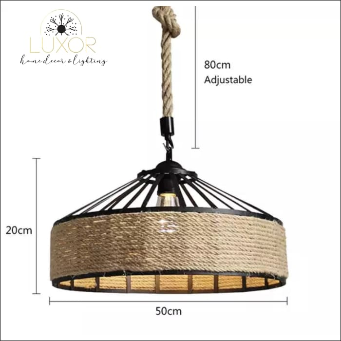 Rope Wicker Chandelier - (C) 80cm - Chandeliers