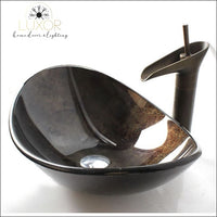 bathroom accessories Coffee Bronzed Tempered Glass Sink & Faucet Set - Luxor Home Decor & Lighting