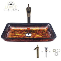 bathroom accessories Fiery Rectangular Tempered Glass & Faucet Set - Luxor Home Decor & Lighting