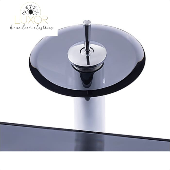 Smokey Tempered Glass Sink & Faucet Set - bathroom accessories