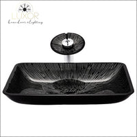 bathroom accessories Onyx Tempered Glass Rectangular Sink & Faucet Set - Luxor Home Decor & Lighting