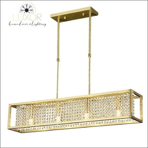 Solary Crystal Rectangular Chandelier - Gold / L95 W23 H35cm / Cool Light 6000K - chandeliers