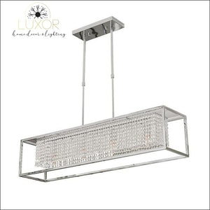 Solary Crystal Rectangular Chandelier - Chrome / L95 W23 H35cm / Cool Light 6000K - chandeliers
