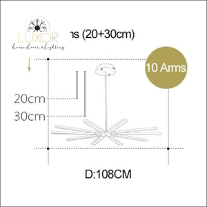 Stardaze Modern Ceiling Light - Matte Gold Color / 10 Arms / Warm White NO RC - ceiling lights