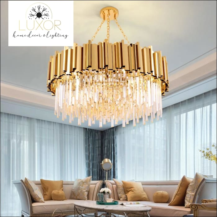 chandeliers Loxo Gold Crystal Chandelier - Luxor Home Decor & Lighting