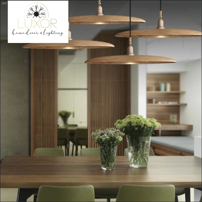 Minimalist Semicircular Solid Wood Pendant Light - chandelier