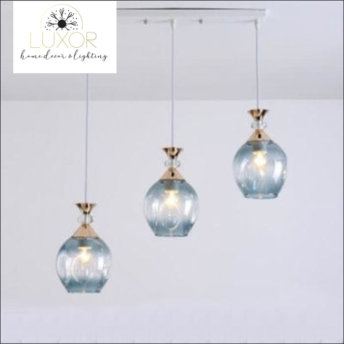 Diamondnique Crystal Pendant - Blue-3 lights-long - pendant ligthing