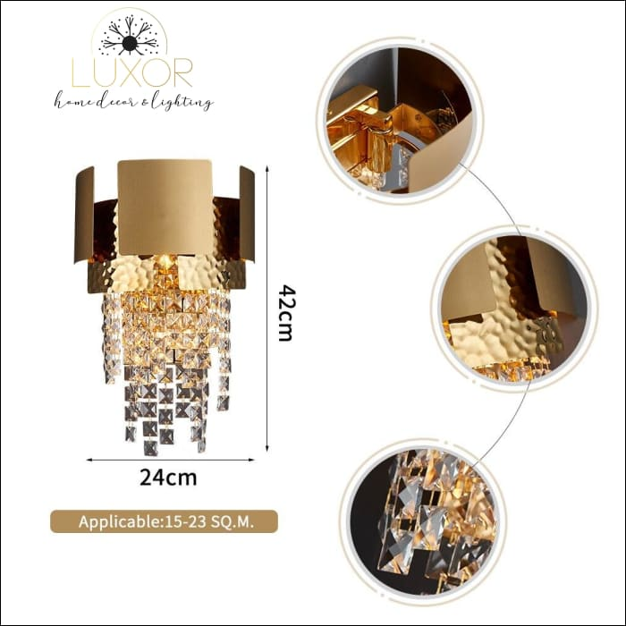 wall lighting Lenora Gold Crystal Wall Sconce - Luxor Home Decor & Lighting