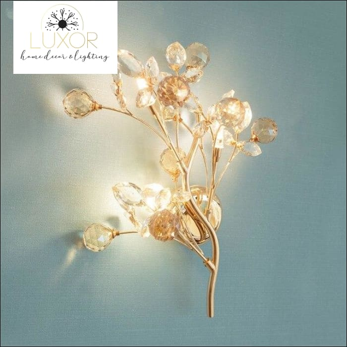 Ann Crystal Leaf Sconce - Gold / Cool White - wall lighting