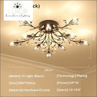 Alexa Luxury Crystal Ceiling Lamp - 10 Light Black / Warm white - ceiling lights