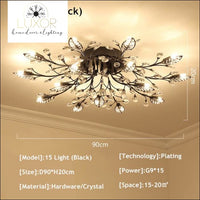 Alexa Luxury Crystal Ceiling Lamp - 15 Light Black / Warm white - ceiling lights