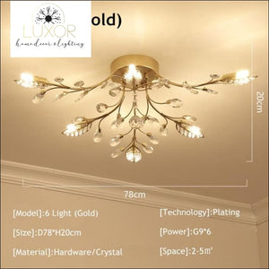 Alexa Luxury Crystal Ceiling Lamp - 6 Light Gold / Warm white - ceiling lights