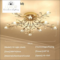 Alexa Luxury Crystal Ceiling Lamp - 10 Light Gold / Warm white - ceiling lights