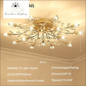 Alexa Luxury Crystal Ceiling Lamp - 15 Light Gold / Cool white - ceiling lights