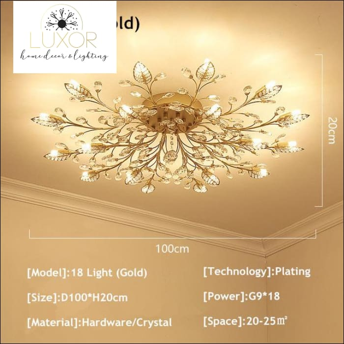 Alexa Luxury Crystal Ceiling Lamp - 18 Light Gold / Warm white - ceiling lights