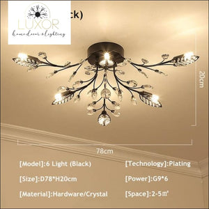 Alexa Luxury Crystal Ceiling Lamp - 6 Light Black / Warm white - ceiling lights